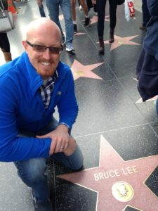 Bodyweight Todd next to his idol Bruce Lee's Hollywood Star